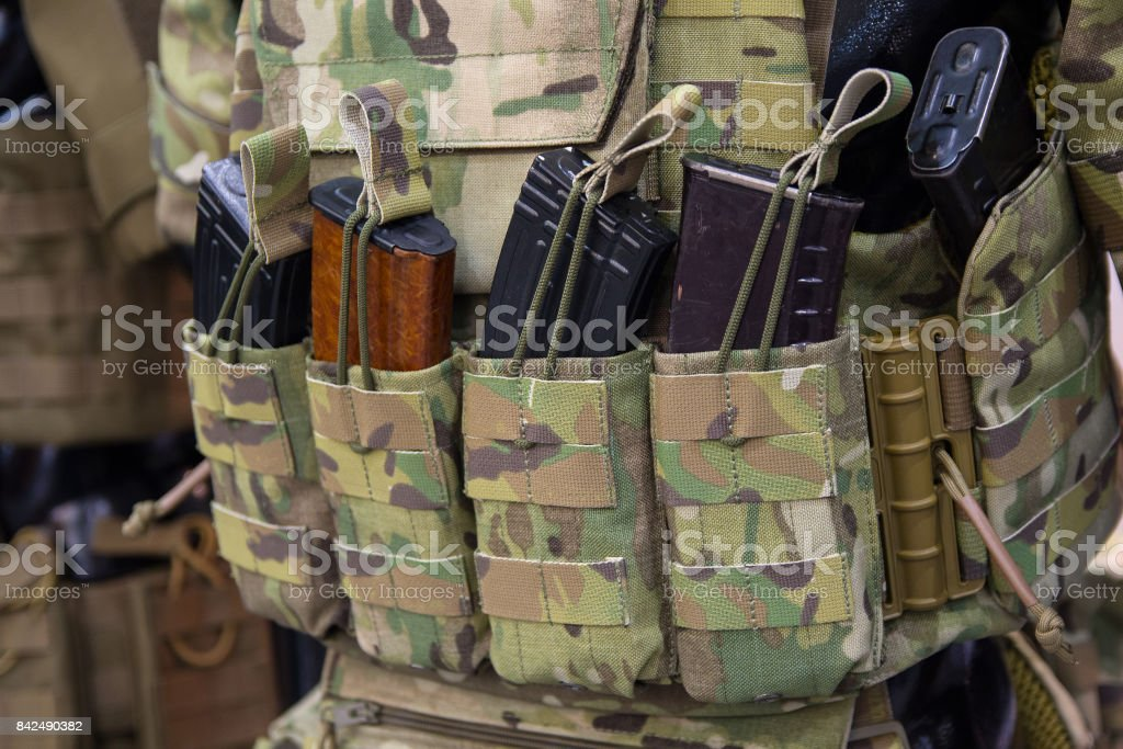 Pouches for ammunition closeup. Weapons and ammunition stock photo
