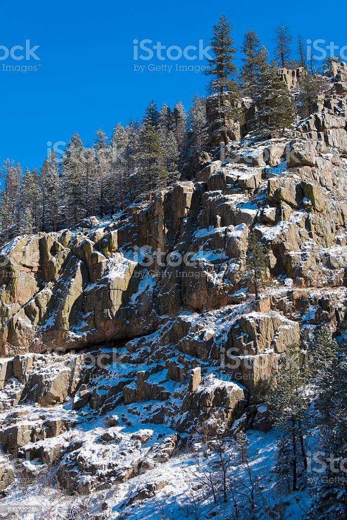 Poudre Canyon in Winter stock photo