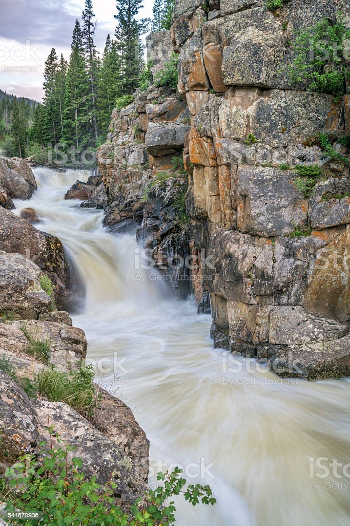 Poudre Falls at high water stock photo