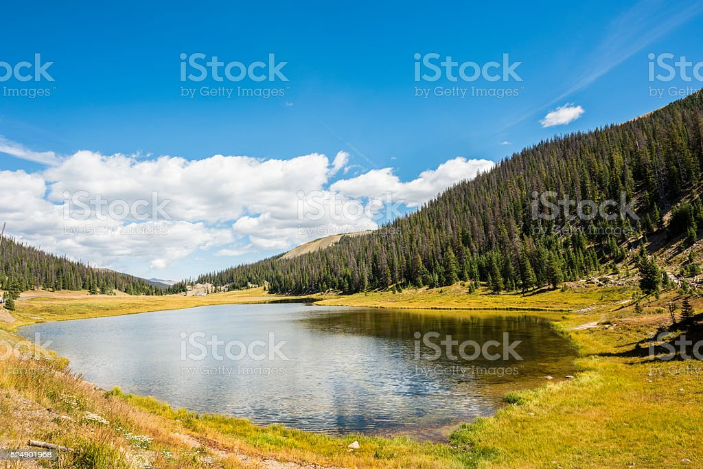 Poudre Lake in the fall in Rocky Mountains stock photo