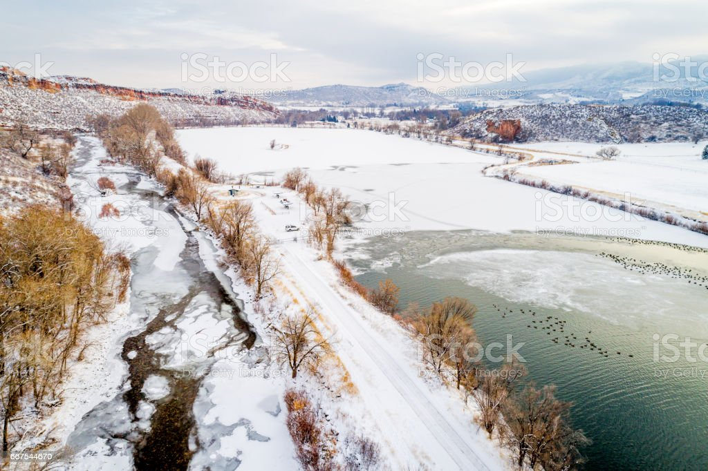 Poudre River and Colorado foothills stock photo