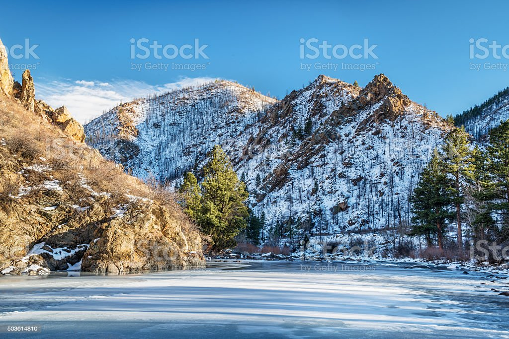 Poudre River Canyon in winter stock photo