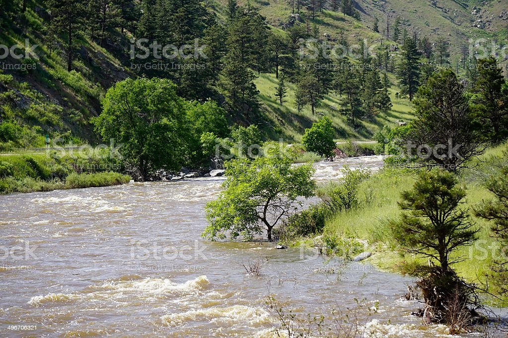 Poudre River, Fort Collins, Colorado royalty-free stock photo