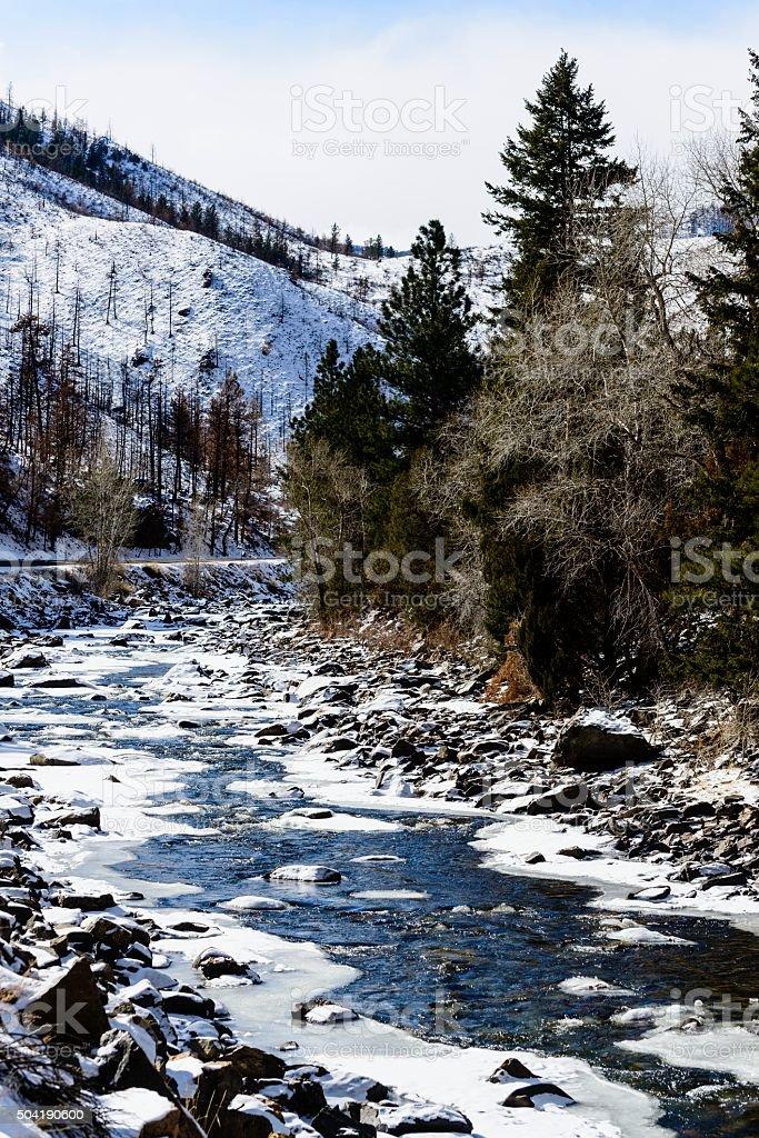 Poudre River in Winter stock photo