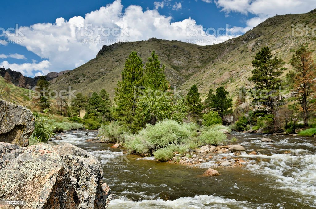 Poudre River outside of Fort Collins stock photo