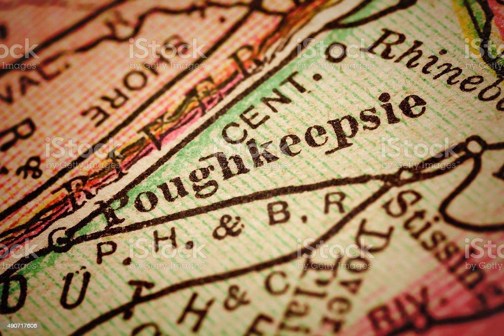 Poughkeepsie, New York on an Antique map stock photo