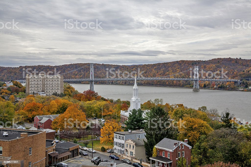 Poughkeepsie & the Mid Hudson Bridge stock photo