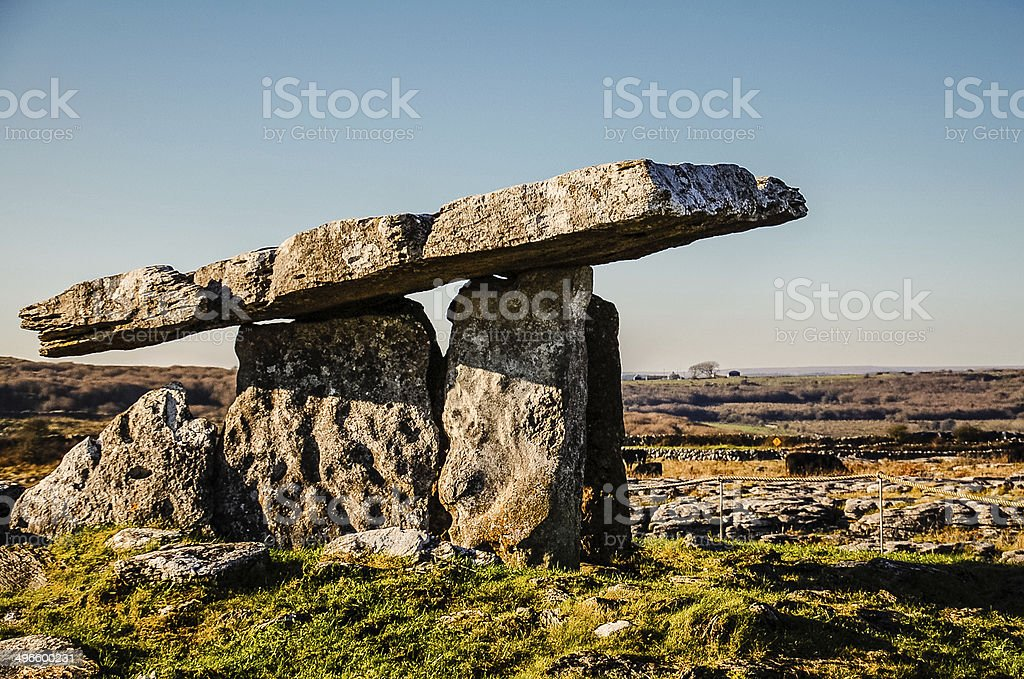 Poulnabrone Dolmen - Ancient Irish Burial Tomb stock photo