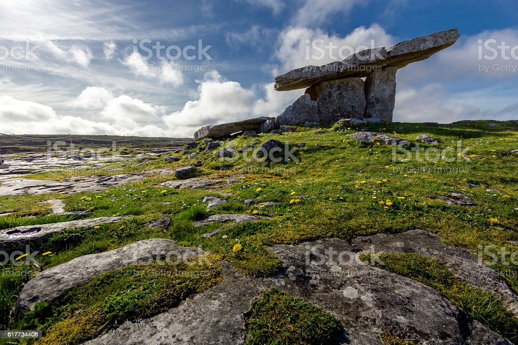 Poulnabrone Dolmen Tomb, Burren, Co.Clare, Ireland. stock photo
