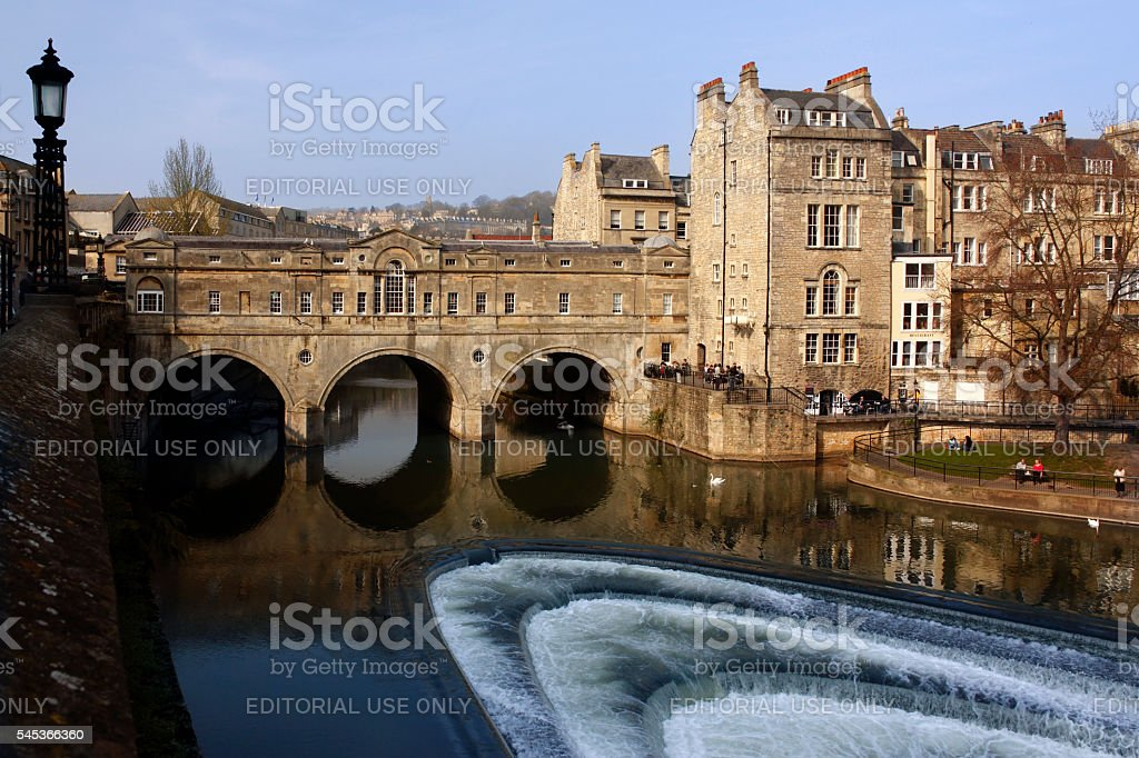 Poultney Bridge - River Avon - Bath - England stock photo