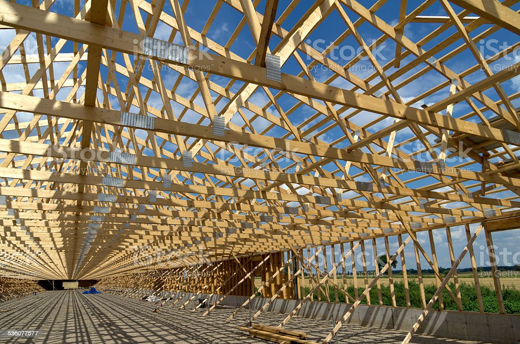 Poultry Barn Construction stock photo