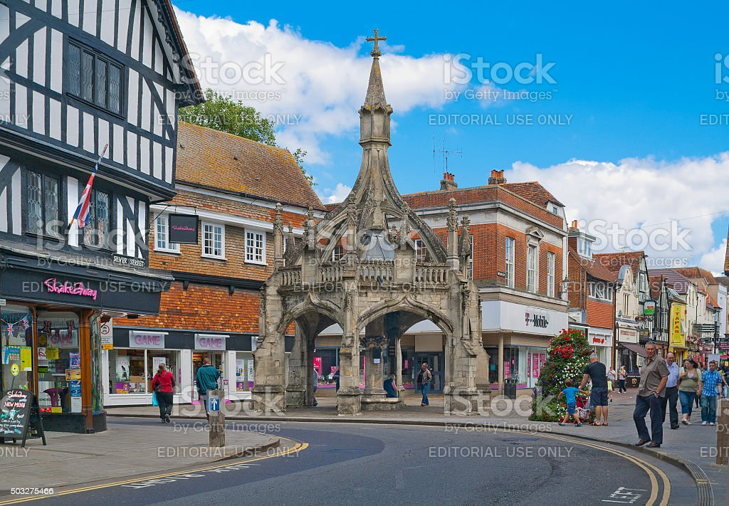Poultry Cross (market cross) in Salisbury, England stock photo