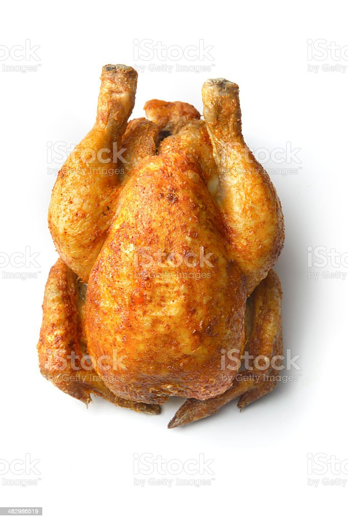 Poultry: Roast Chicken Isolated on White Background royalty-free stock photo