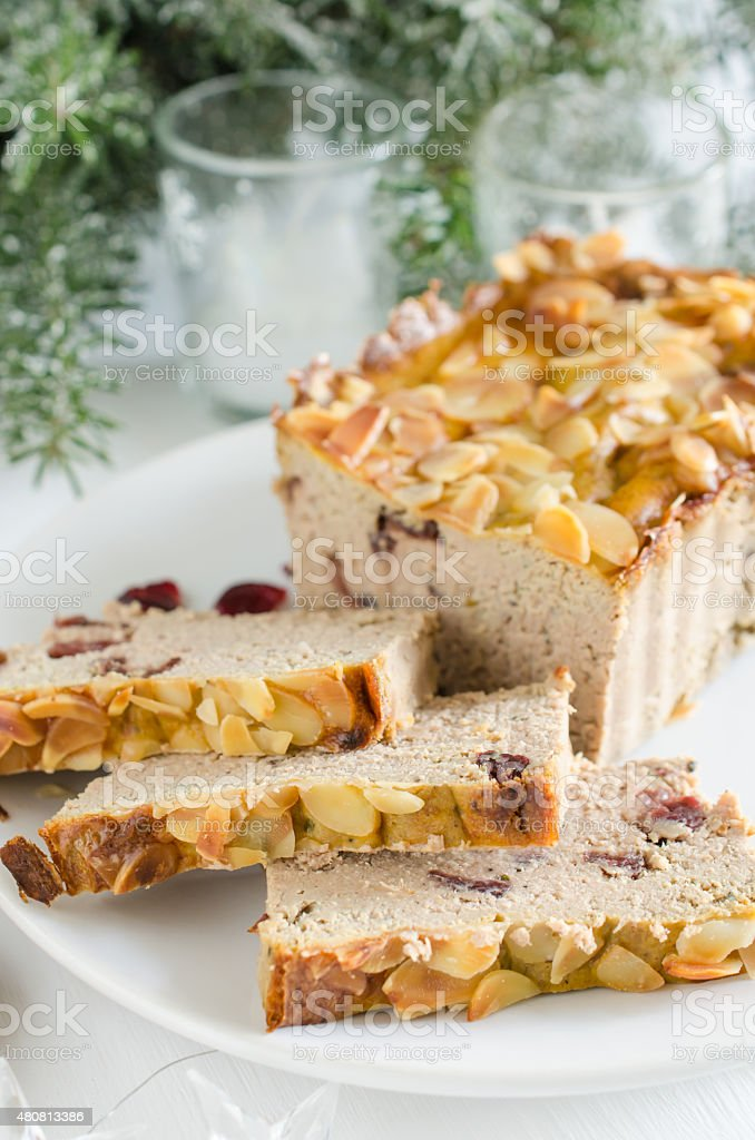 Poultry turkey pate with cranberries and almonds stock photo