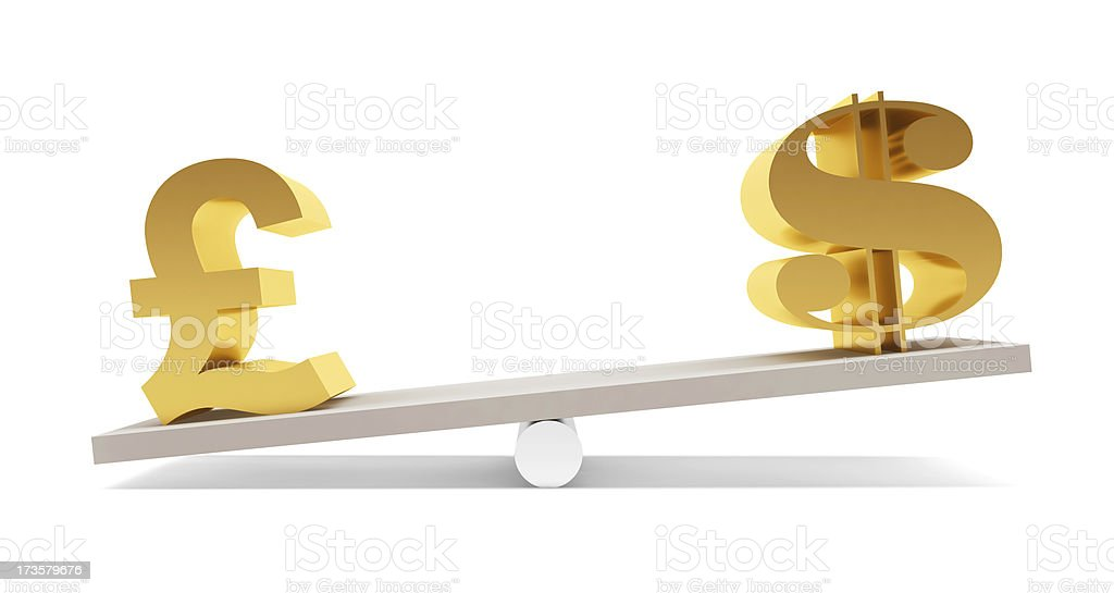 Pound and Dollar on the balance royalty-free stock photo