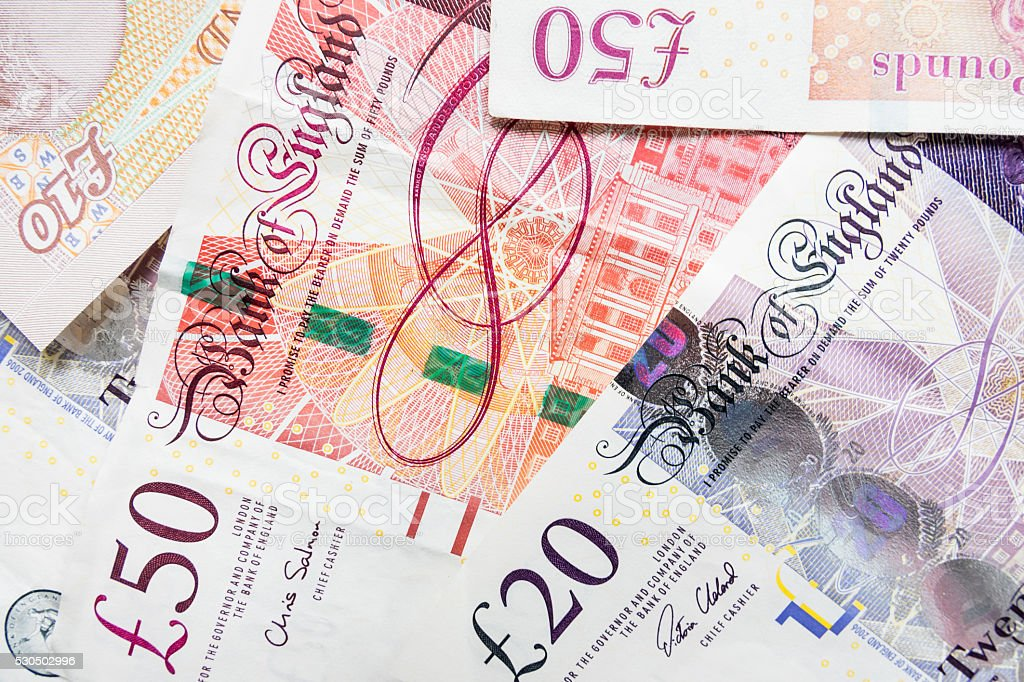 UK pound banknotes stock photo