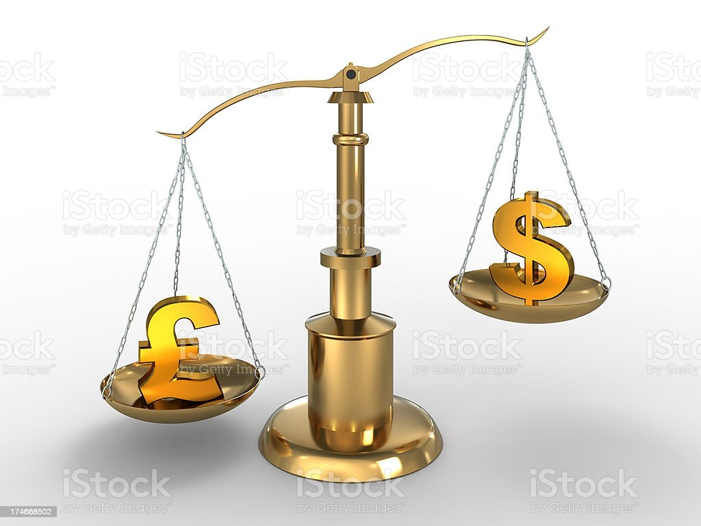 Pound beats dollar on scales with Clipping Path royalty-free stock photo