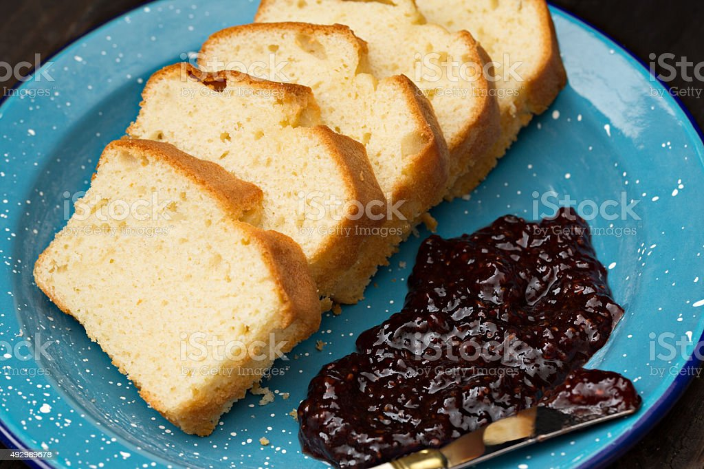 Pound Cake And Raspberry Jam stock photo