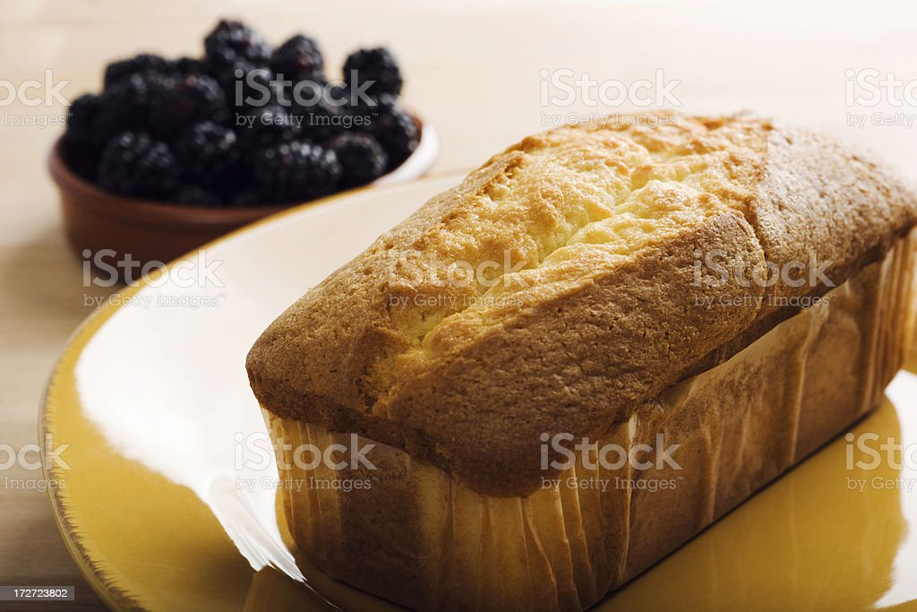 Pound Cake & Berries Hz royalty-free stock photo