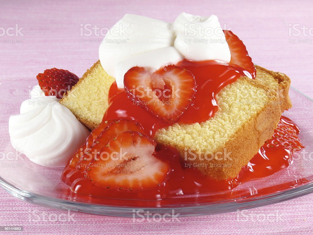Pound Cake, Strawberries, & Cream stock photo