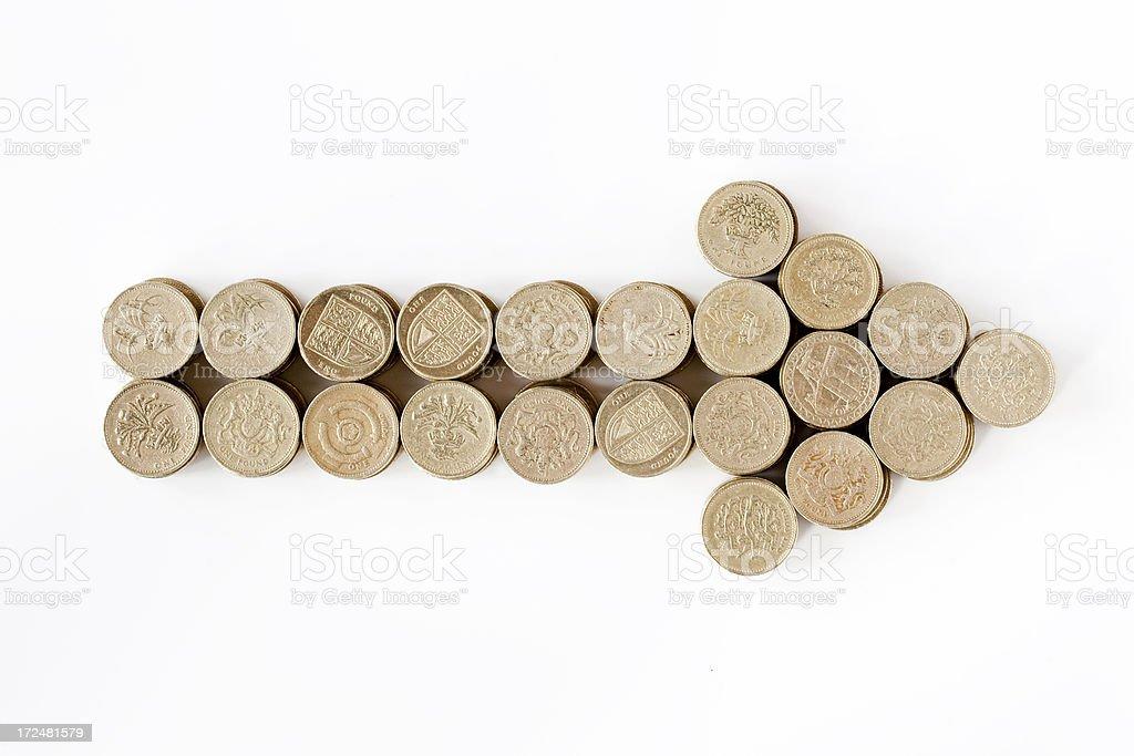 Pound coin arrow royalty-free stock photo