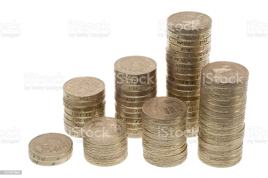 Pound coin graphic with colums on white royalty-free stock photo