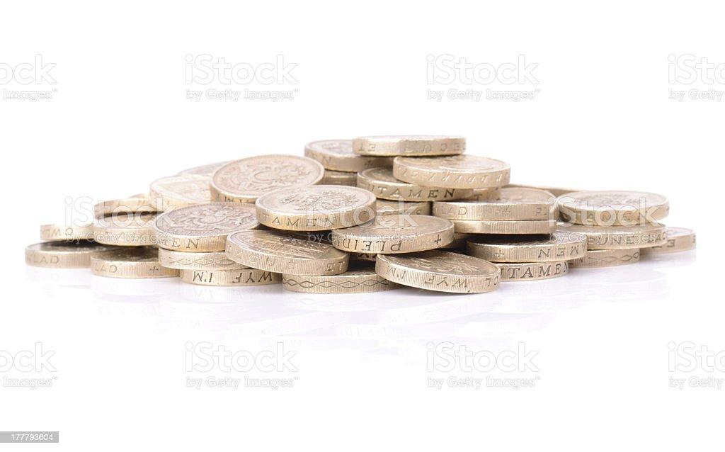 pound coin pile royalty-free stock photo