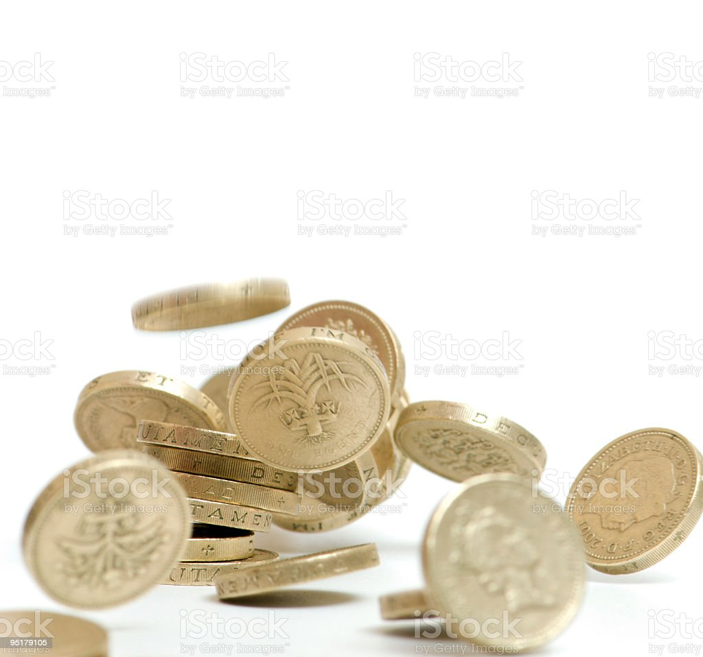 pound coins falling royalty-free stock photo