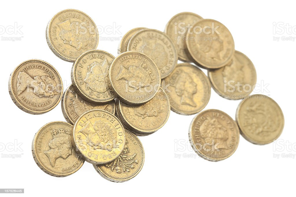 Pound Coins Isolated On White royalty-free stock photo