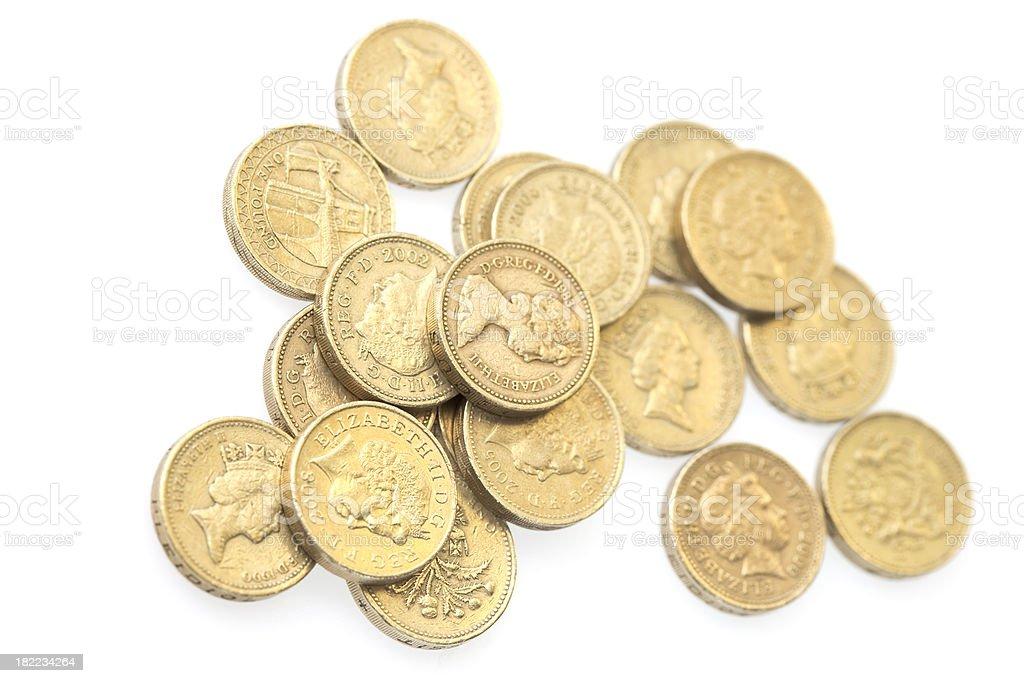 Pound Coins On A White Background royalty-free stock photo