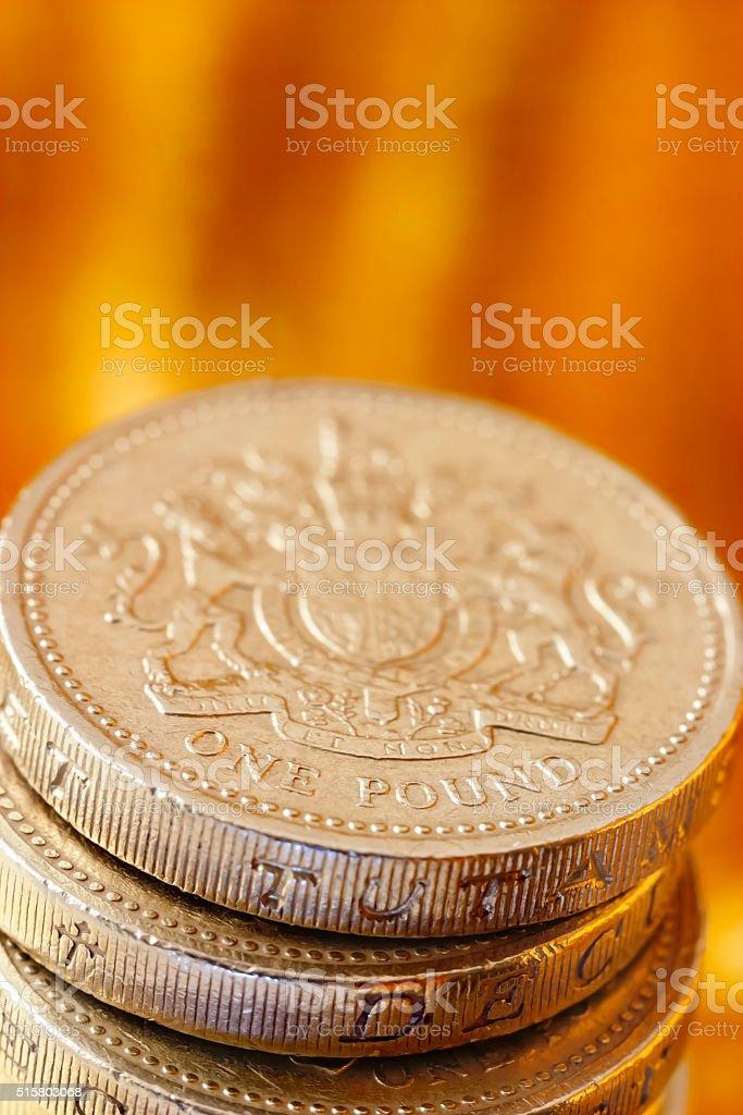 Pound Coins on Gold stock photo