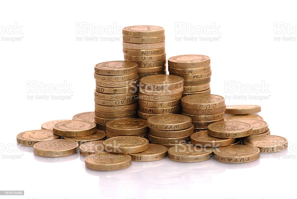 Pound Coins stacked royalty-free stock photo
