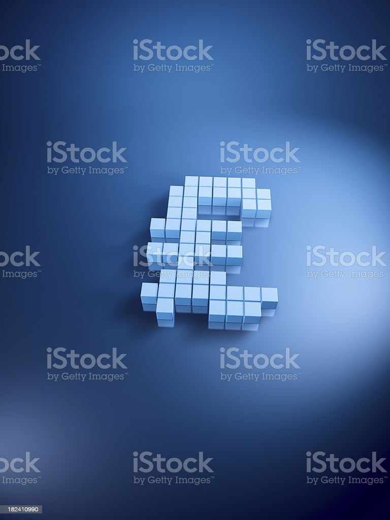 Pound Currency Symbol Blue Cubes Vertical royalty-free stock photo