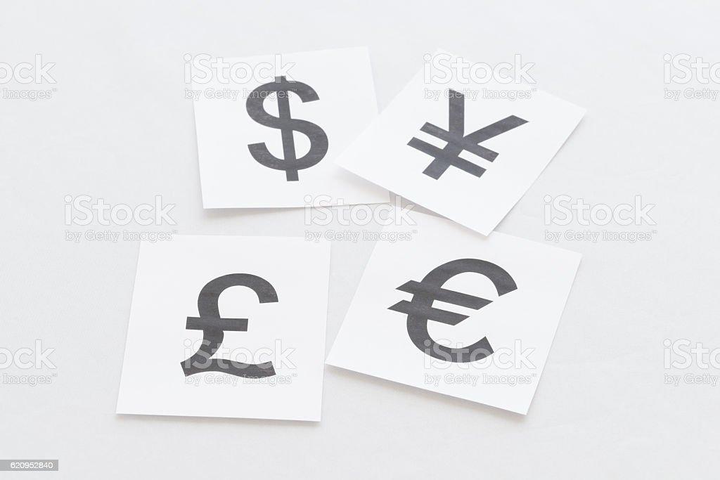 Pound, euro, dollar, yen stock photo