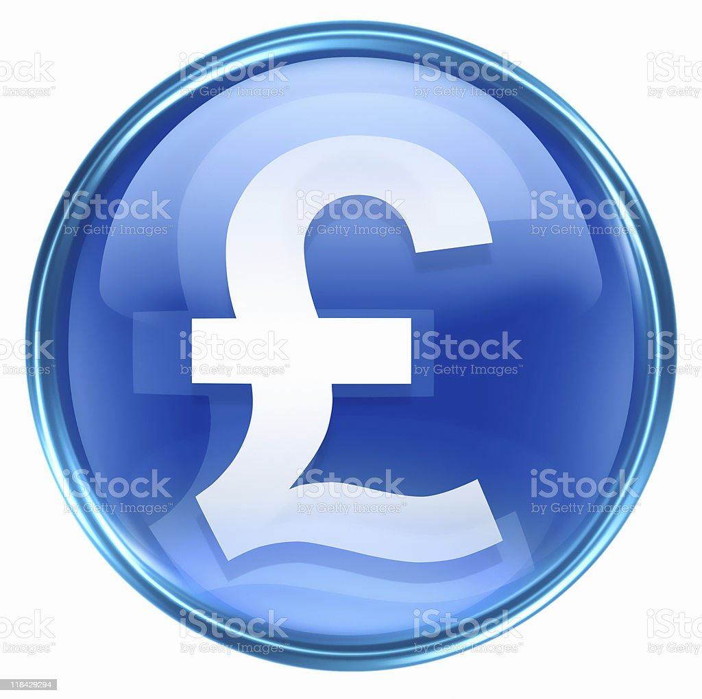 Pound icon blue, isolated on white background royalty-free stock photo