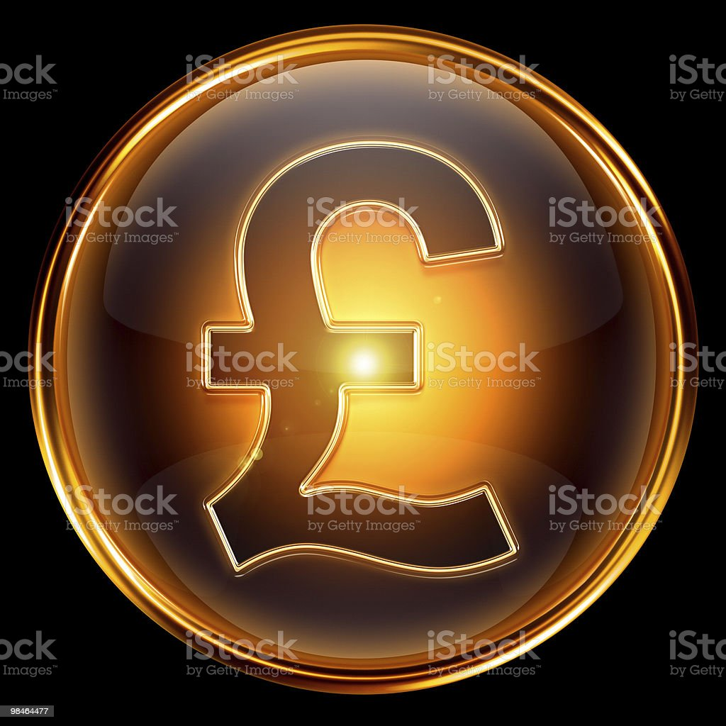 Pound icon golden, isolated on black background royalty-free stock photo