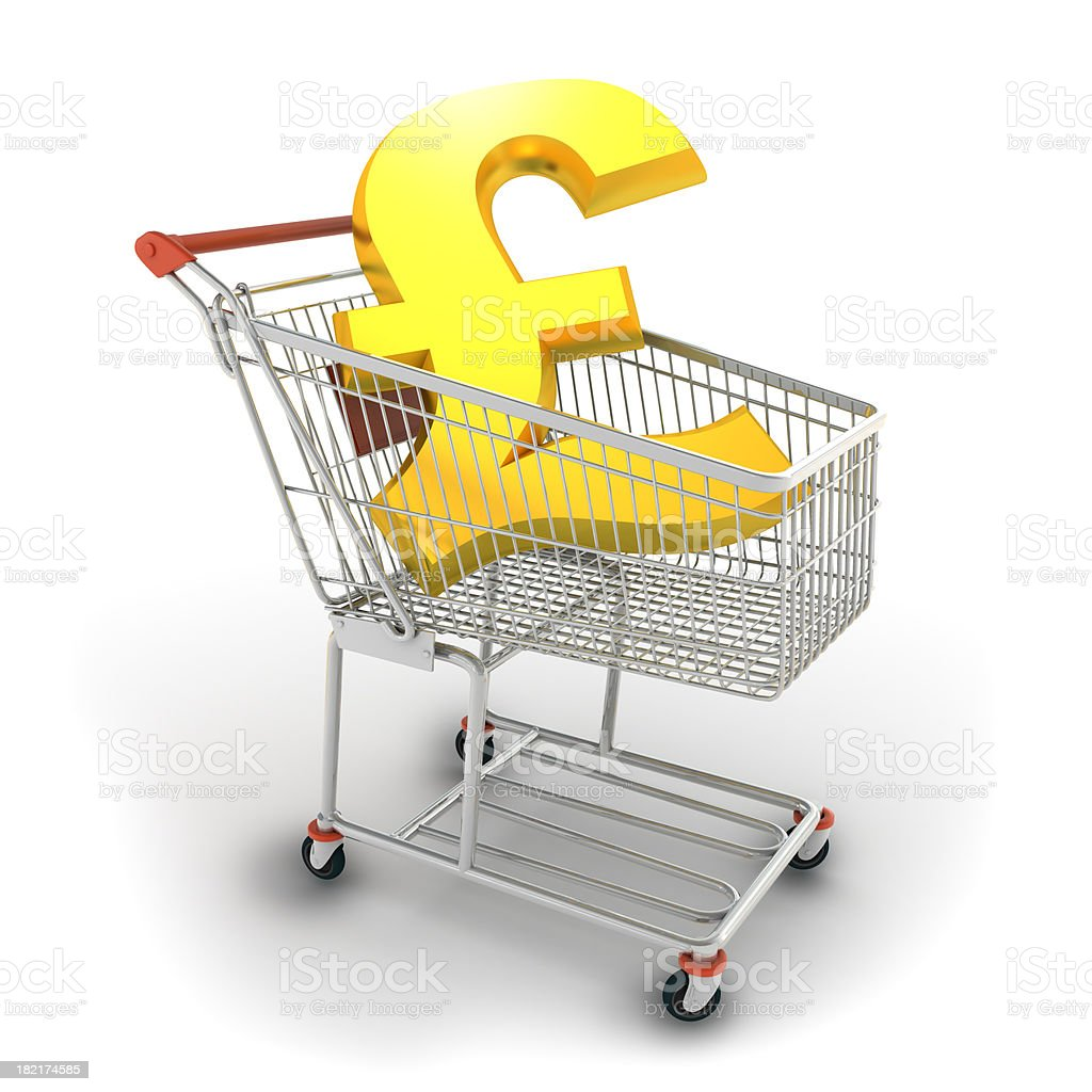 Pound in shopping cart royalty-free stock photo