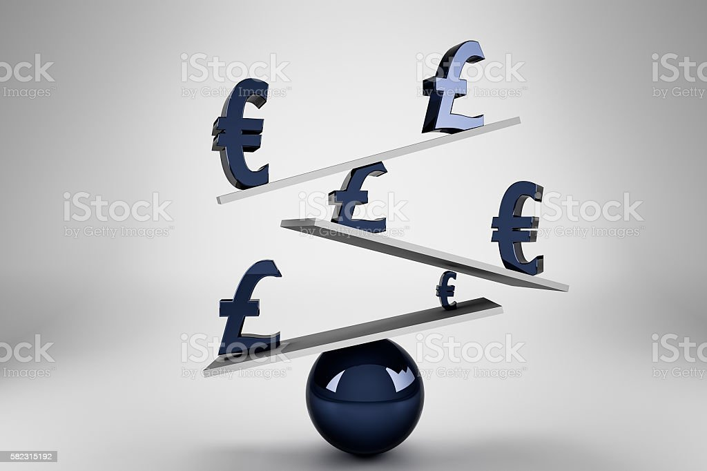 Pound sign and Euro sign on balance board stock photo