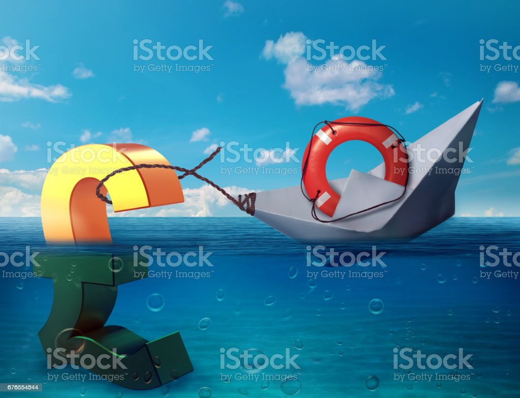 Pound sinking in the sea as symbol of future UK economy depression recession and economic downturns stock photo