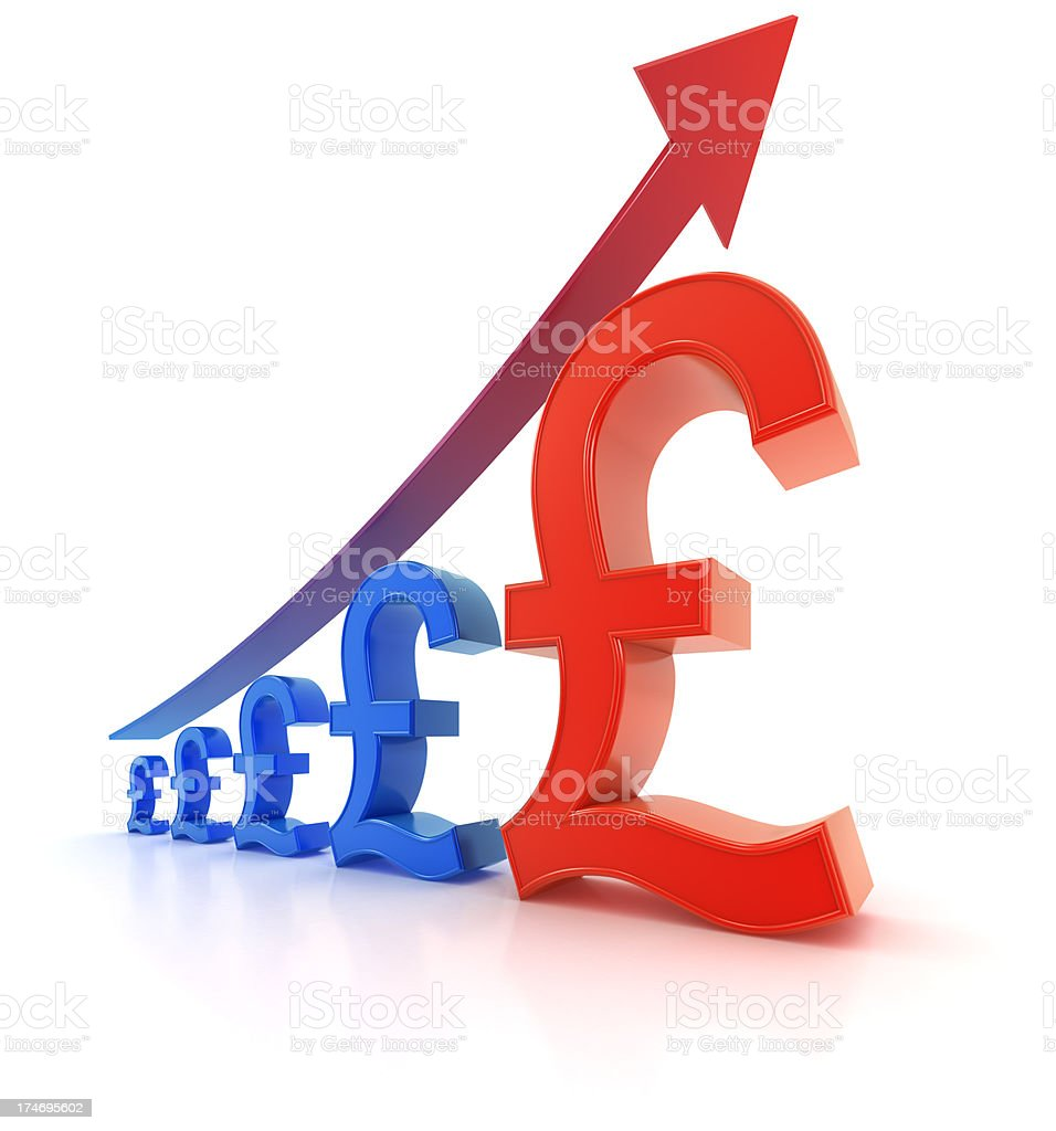 Pound sterling currency graph - growth royalty-free stock photo