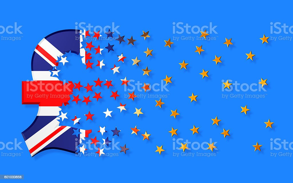 Pound Sterling Sign Falling Apart To Gold Stars stock photo