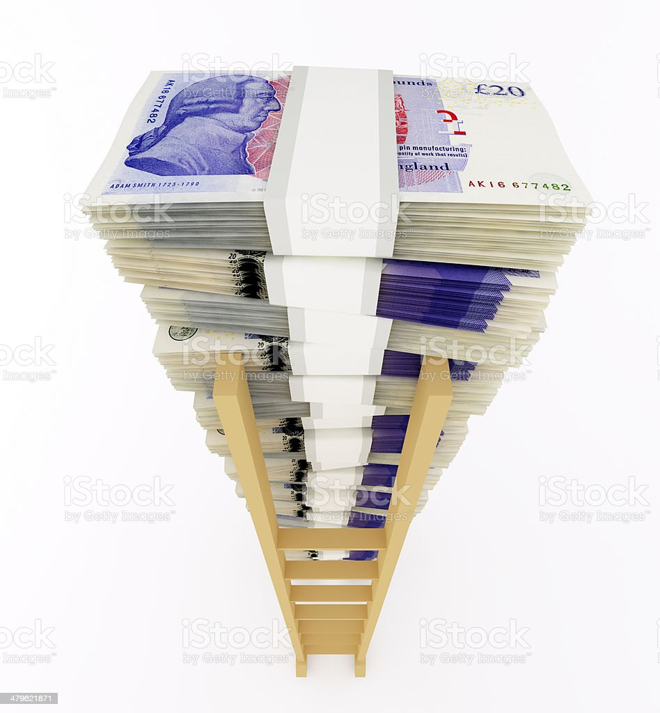 Pound sterling stack with ladder stock photo