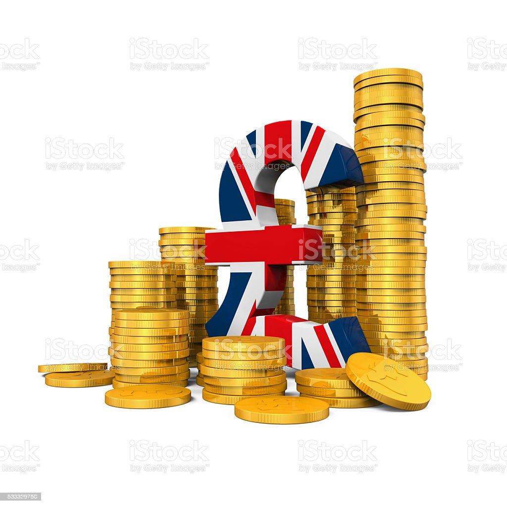 Pound Symbol and Gold Coins stock photo