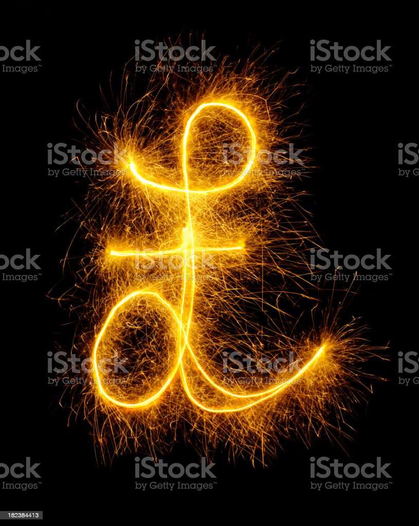 Pound Symbol Drawn in Fireworks royalty-free stock photo