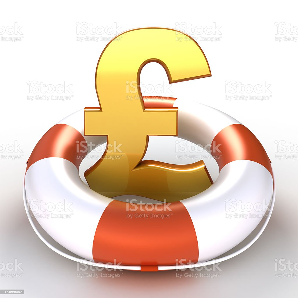 Pound symbol in lifebuoy - isolated with clipping path royalty-free stock photo