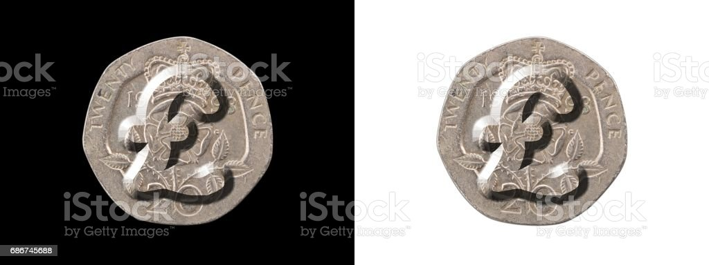Pound symbol on twenty pence stock photo