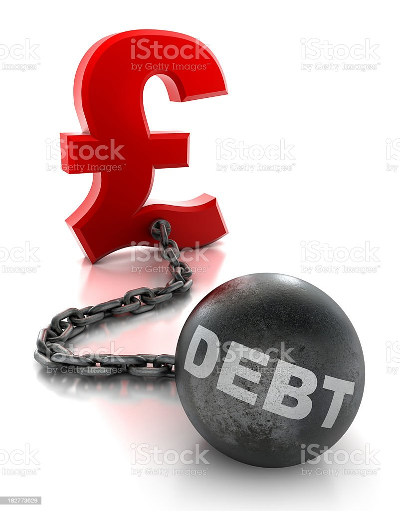 Pound tied to ball and chain of debt - isolated stock photo