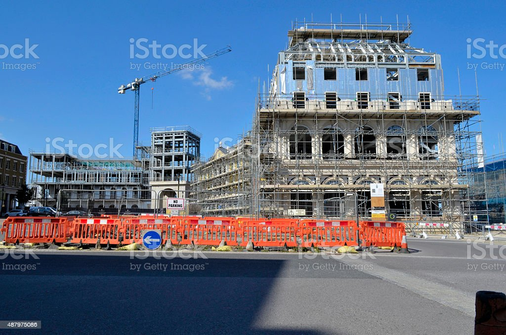 Poundbury Queen Mother Square construction 2 royalty-free stock photo