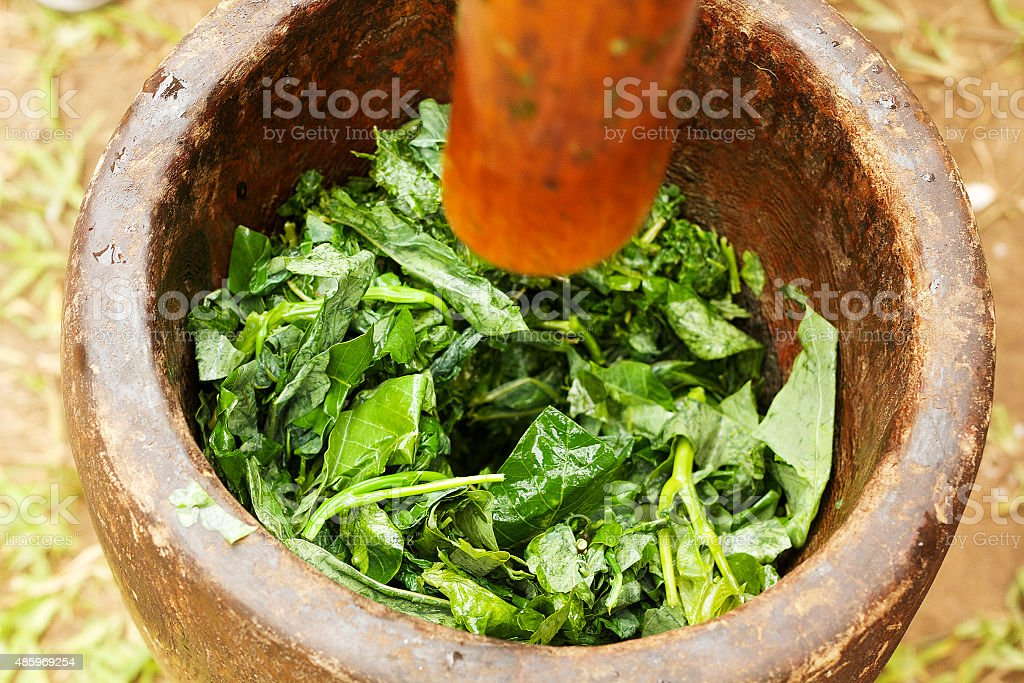 Massaggio Pondu o di foglie di manioca foto stock royalty-free