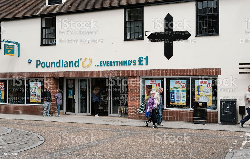 Poundland Supermarket in Saint Ives, Cambridgeshire stock photo